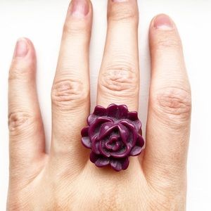 Vintage chunky purple flower ring